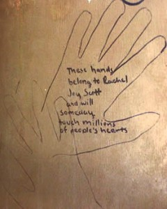 Rachel wrote this on the back of her dresser. She ended up being right. (Image source: http://acolumbinesite.com/victim/rachel.html)